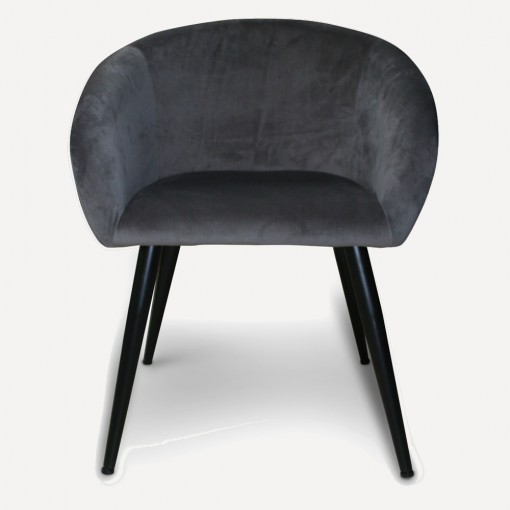 grey velour dining chair